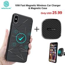 Nillkin 10 Вт Быстрое беспроводное автомобильное зарядное устройство с магнитным держателем чехол для iPhone 11 Xs Max Xr X 8 для Samsung S10 S10 + Note 20