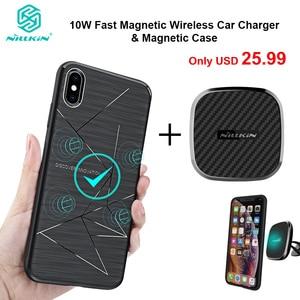 Image 1 - Nillkin 10 Вт Быстрое беспроводное автомобильное зарядное устройство с магнитным держателем чехол для iPhone 11 Xs Max Xr X 8 для Samsung S10 S10 + Note 20