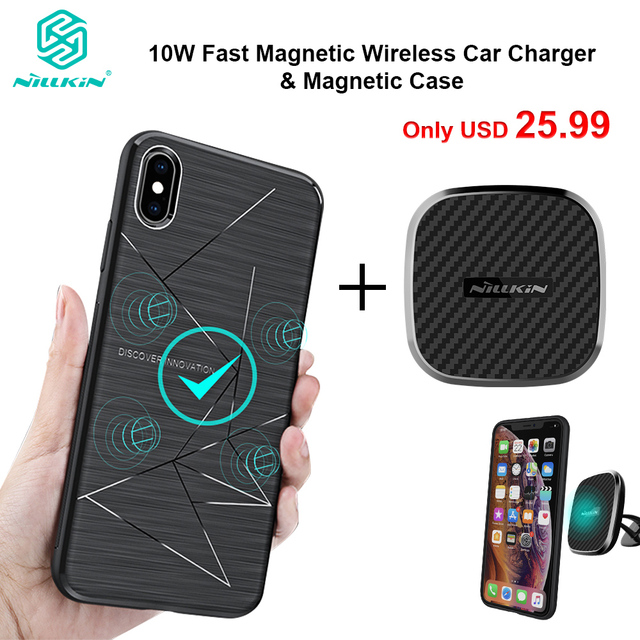 Nillkin 10W Fast Wireless Car Charger With Magnetic Mount Holder Case for iPhone 11 Xs Max Xr X 8 for Samsung S10 S10+ Note 20