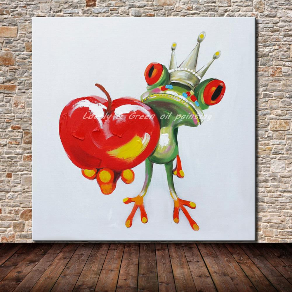 Hand made cartoon animal abstract oil painting frog prince for Canvas painting for kids room