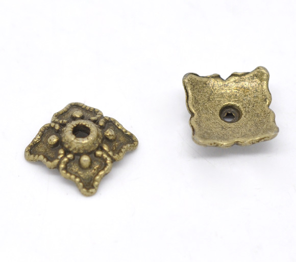 Zinc Metal Alloy Beads Caps Square Antique Bronze(Fits 14mm-20mm Beads)Pattern Pattern 8mm(3/8