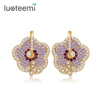 LUOTEEMI Trendy Earrings High Quality Flowers With Small Butterflies Sparking Pure Romantic Style For Women Wedding