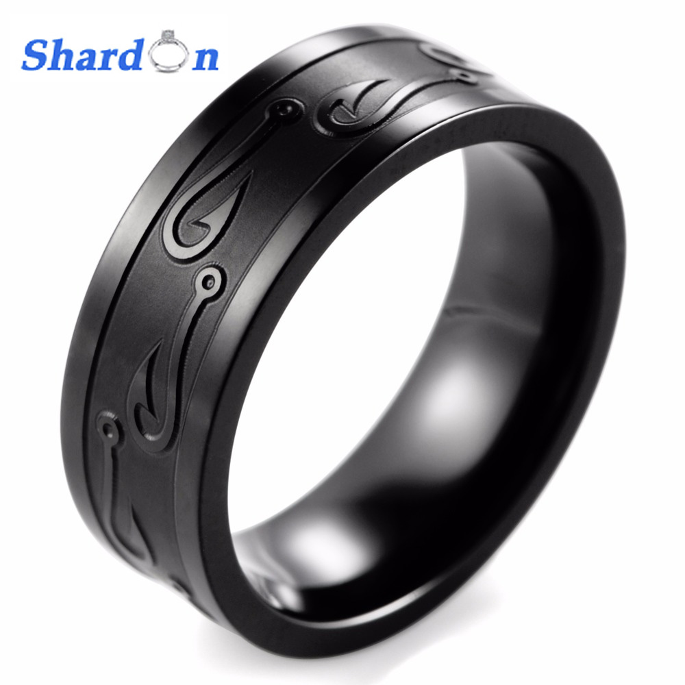 Gent's 8MM Pipe Black Titanium Black and Textured Fish Hook Wedding Band Outdoor Hunting Ring for Men