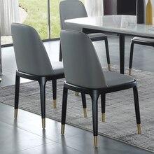 Однотонное деревянное кожаное кресло для столовой, отеля, ресторана, простое Скандинавское обеденное кресло, подлокотник, роскошный позолоченный дизайн