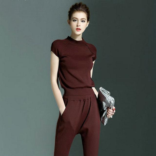 2016 новый вязать с коротким рукавами брюки подходит женщинам мода свободного покроя урожай лучших и брюки комплект тонкий трикотаж футболка 2 шт. комплект женщин