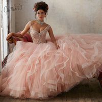 Beautiful Pink Lace Up Back Quinceanera Dress 2019 Beading Sequin Cap Sleeves Girls Debutante Dress Vestido de 15