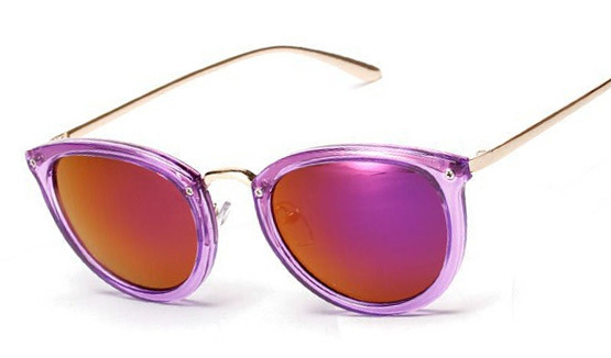 cc73593312b New brand high quality clear frame cat eye Sunglasses metal women candy  colors rainbow reflective sun