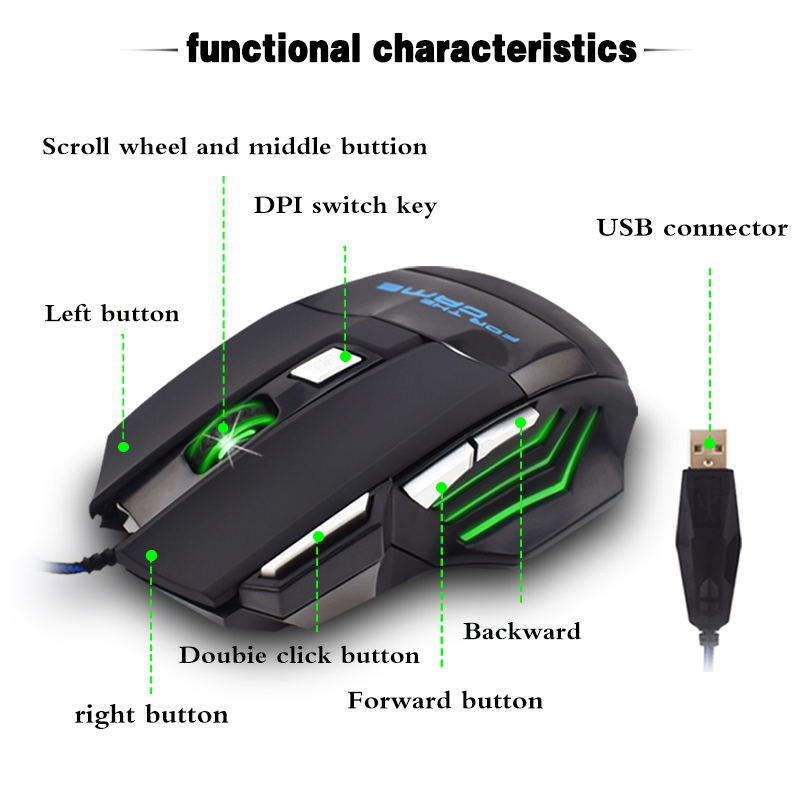 Image 4 - Wire Mouse 7 Buttons 5500 DPI Gaming Mouse Computer Gamer Mice for PC Laptop Notebook Game Gamer-in Mice from Computer & Office