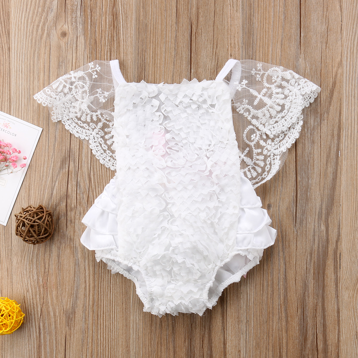 Solid Lace Short Sleeve Ruffled Rompers For Baby Girl