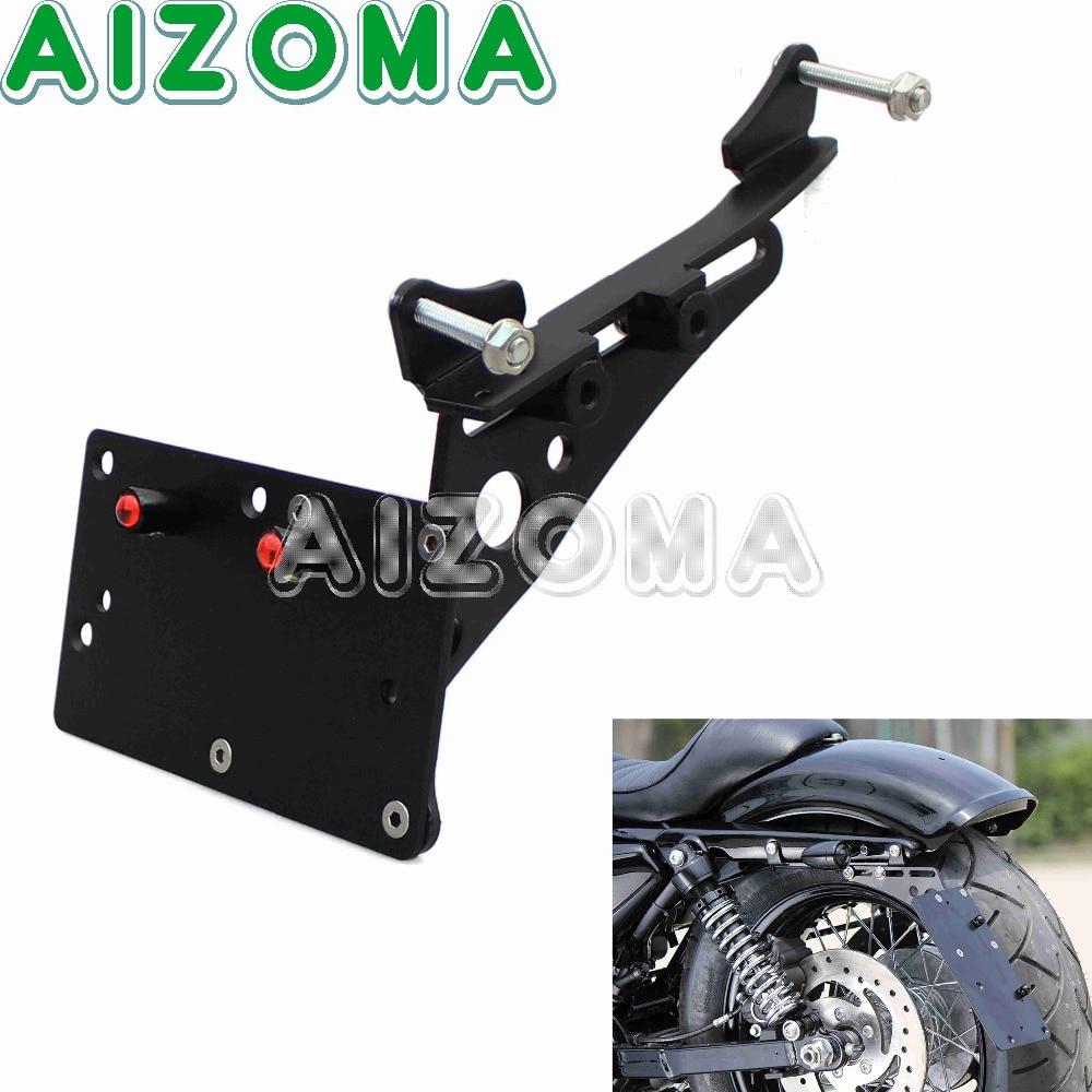 Black Horizontal Vertical Bracket Motorcycle LED Licence Plate Frame Side Mount For Harley Sportster XL883 XL1200 Iron883  04-17