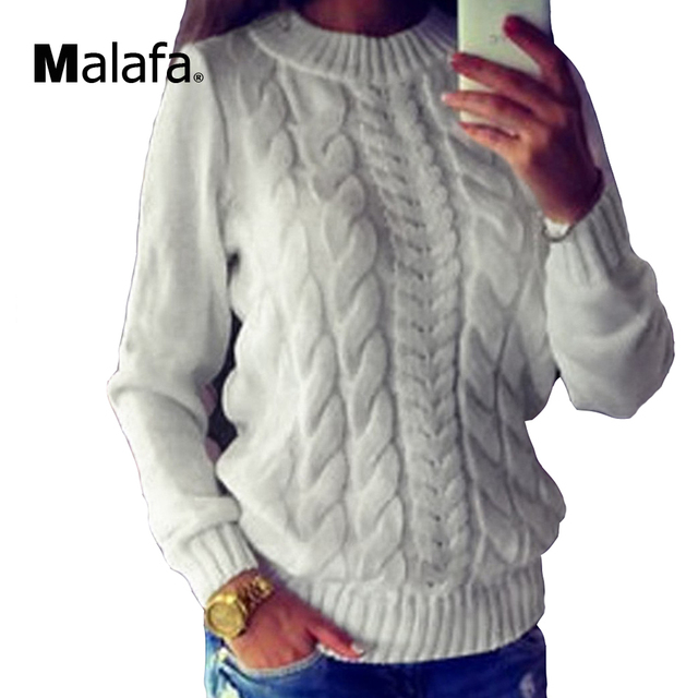 46e705bb38edf5 Ladies Knitted Sweaters Tops Women Vintage Long Sleeve Knitwear Jumper O  Neck Gray White Fashion Pullover