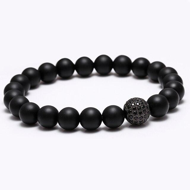 bracelet perle noir mat