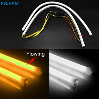 2X 60cm Daytime Running Light Universial Flexible Soft Tube Guide Car LED Strip White DRL And