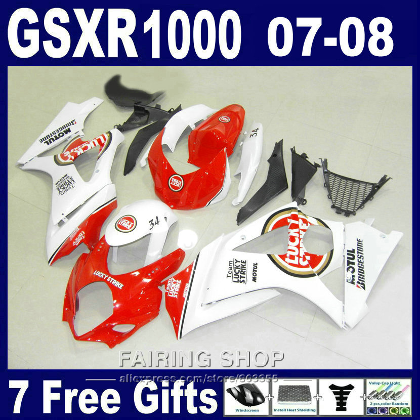 Top-selling high quality fairings For Suzuki GSXR 1000 07 08 red white black fairing kit GSXR1000 2007 2008 PG33