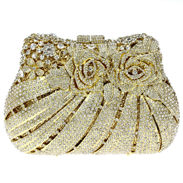 Golden Colors Rhinestones Women s Bags Metal Evening Clutches Bridal  Wedding Party Top Quality Clear White Crystals d492d588bc08f
