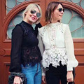 Self Portrait Top 2017 New Arrival Long Sleeve Black White Crochet Lace Blouses