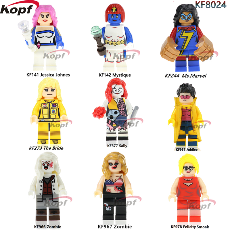 Single Sale Super Heroes Sally Felicity Smoak Zombie The Bride Mystique Building Blocks Education Toys for children Model KF8024 single sale super heroes red yellow deadpool duck the bride terminator indiana jones building blocks children gift toys kf928