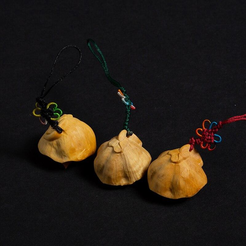 1 pièces Lotus graine de bon augure fait main bricolage en bois massif fleur statue sculpture artisanat en bois artisanat cadeau créatif pendentif - 2