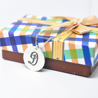 Solid Silver Disc Engraving Monogram Necklace Personalized Initial Letter Pendant collier colar