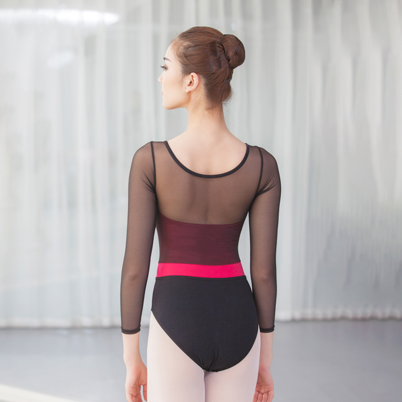 leotard women mesh long sleeve gymnastics leotard ballet bodysuit ballet leotard women dance leotard dancewear in Ballet from Novelty Special Use