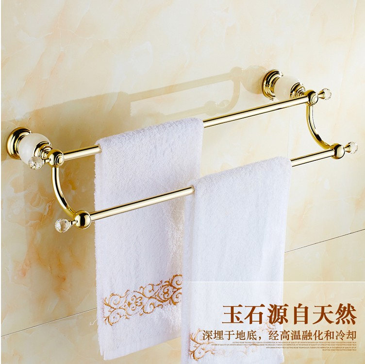 Bathroom accessories,Brass Material Double Towel Bar&Towel Rack /Luxury Gold Finish With Marble Creative Design StyleBathroom accessories,Brass Material Double Towel Bar&Towel Rack /Luxury Gold Finish With Marble Creative Design Style