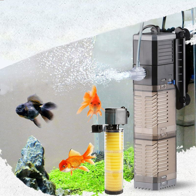 Filtro de acuario silenciar tres en uno filtro incorporado para filtración de acuario/filtro de tanque de peces/filtro sumergible multifunción