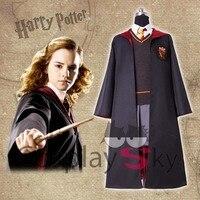 Harri Potter Clock Set Hermione Jane Granger Cosplay Costume Uniform Set Clock+Shiret+Embrodiery Sweater Tie for Women Girl