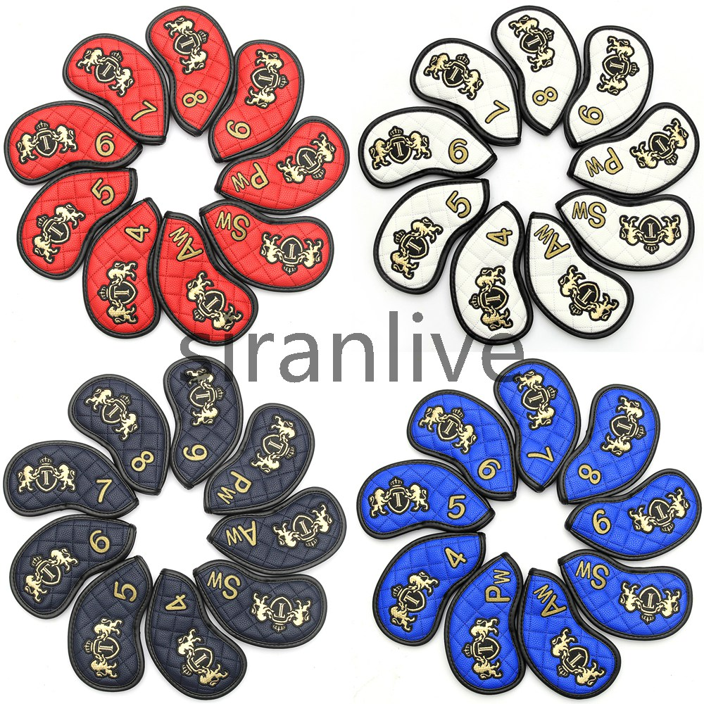 Siranlive Golf Iron Head Covers 9PCS(4~9,P ,A ,S ) Black Simple Style Waterproof PU Leather