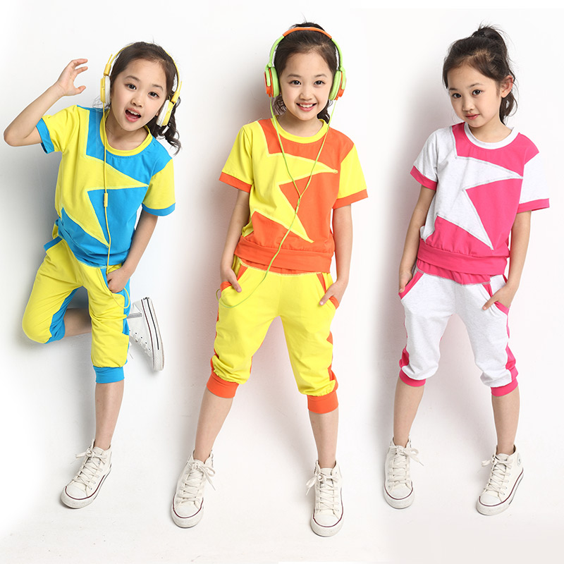 2015 Fashion Brand Kids Girls Clothing Set Pentastar Print t shirt & Capris Pants 2 Pieces Clothes Sets Sports Suit - CiCi store