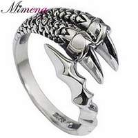 100 Silver 925 Sterling Silver Jewelry Dragon Ring For Men Free Shipping