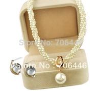 бесплатная доставка! розовое золото крем с жемчугом и стразами свадебные цепочки и ожерелья и серьги свадебный комплект ювелирных изделий