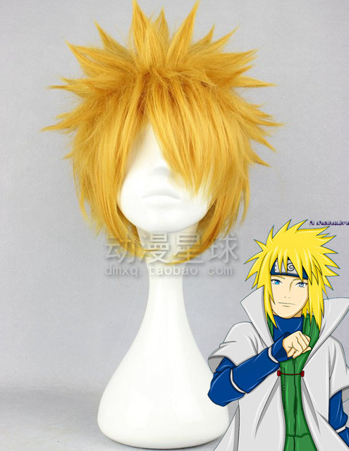 Heat anime Naruto feng shui door handsome high-quality hair fashion yellow wigs + free wig caps free shipping