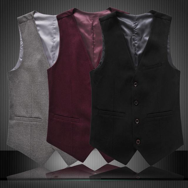2016 otoño nueva chalecos hombres moda marca para hombre Casual traje Slim Fit chalecos hombres más el tamaño 3XL 4xl 5xl 6xl 3 colores