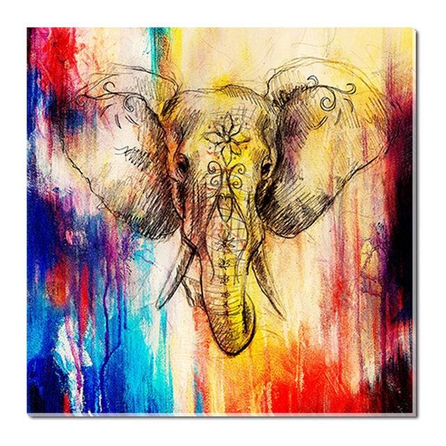 Watercolor Elephant Painting Print Canvas Animal Home Wall Art Decor ...