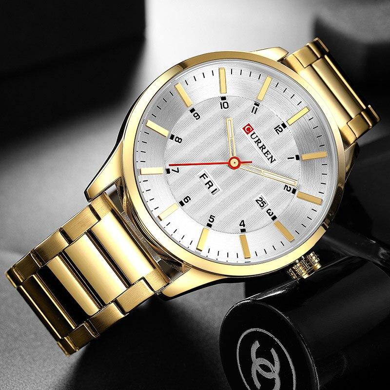 2018 CURREN Gold Quartz Watch Top Brand Luxury Men Watches Fashion Man Wristwatches Stainless Steel Relogio Masculino Saatler 2