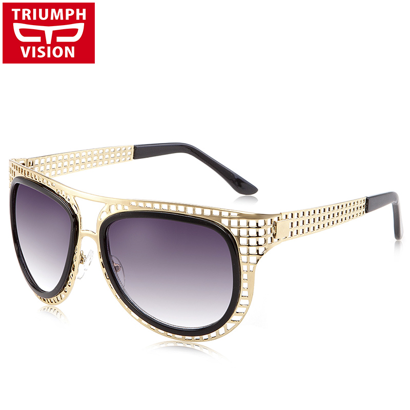 TRIUMPH VISION Gold Metal Hollow-Carved Women Sunglasses Pilot Style Gradient <font><b>Lens</b></font> Oculos Luxury Brand Sun Glasses Female image