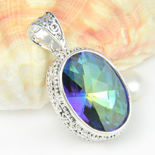 Top Beautiful 925 Sterling Silver Natural Rainbow Mystic Topaz Pendant For Women Wedding Party