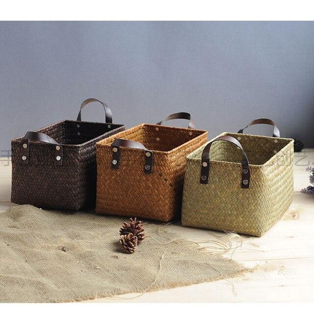 Nice Square Seaweed Basket Handmade Storage Box Sundries Storage Baskets High  Quality Sea Grass Box Home Decoration