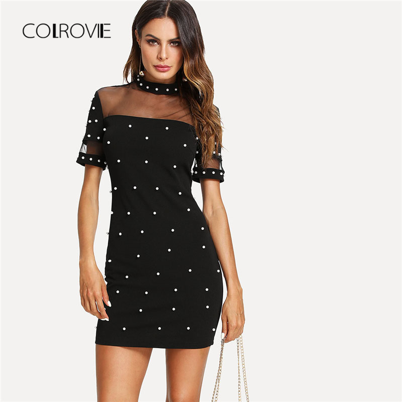 COLROVIE Mesh Yoke Pearl Beaded Party Dress 2018 Summer Stand Collar Short Sleeve Bodycon Dress Black Zipper Short Women Dress