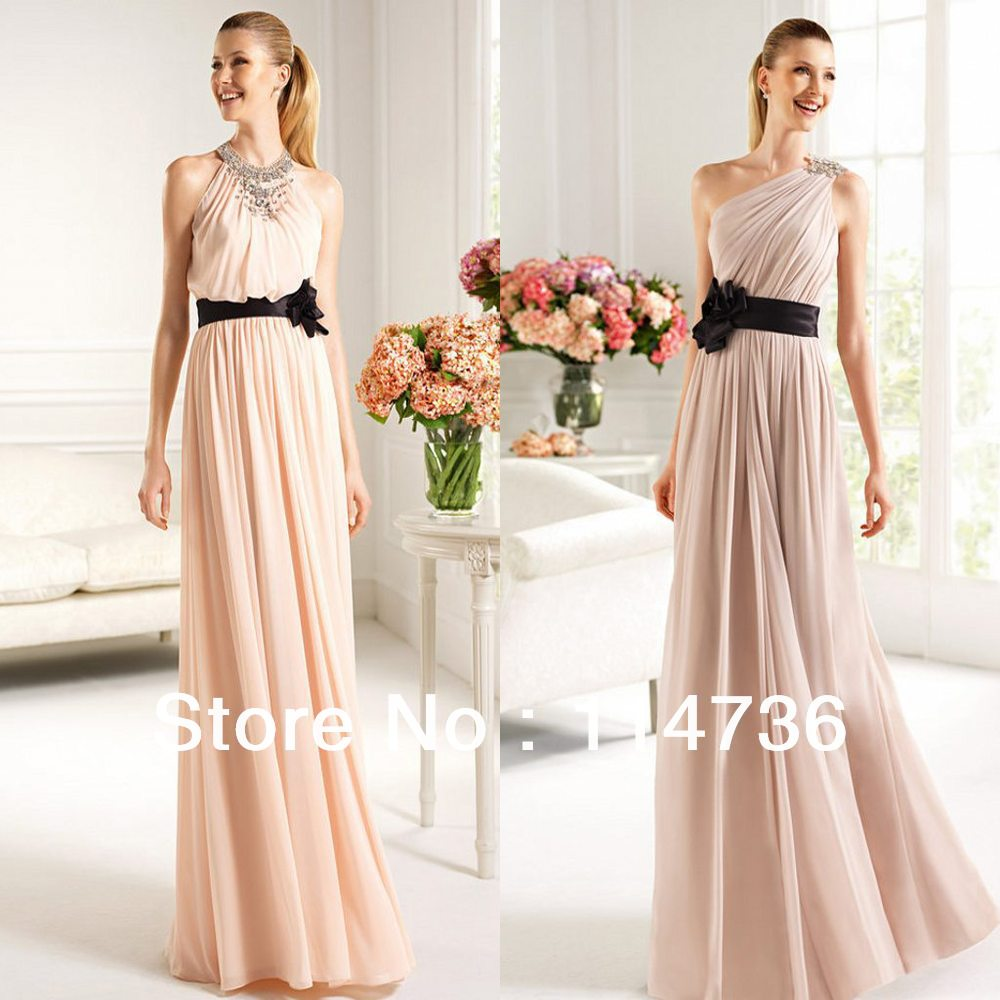 Discount Free Shipping Cwds078 One Shoulder With: Baby Pink 2013 Free Shipping One Shoulder Halter Empire
