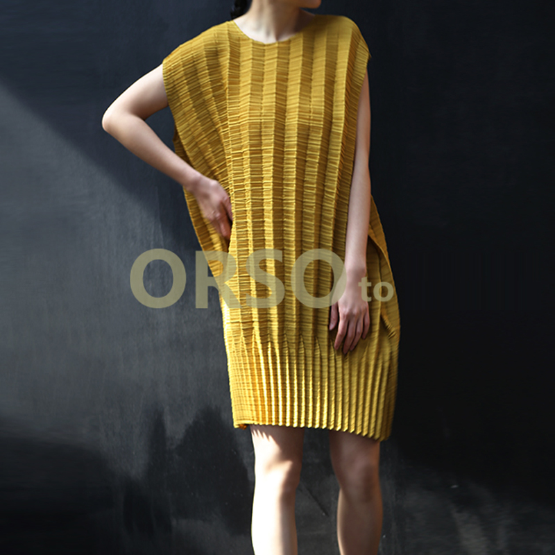 Changpleat 2019 di Estate Nuove Donne Vestito Allentato Miyak Pieghettato di Disegno di Modo del manicotto del Bicchierino del O Collo Solido di Grandi Dimensioni Abito Marea Femminile - 2