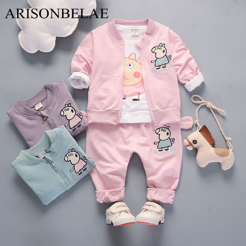 ARISONBELAE Baby Girl Clothes Kids Suit Sets Animal Pig Cute White t shirt 3 Pieces Newborn Children Clothing Coat+t-shirt+pant