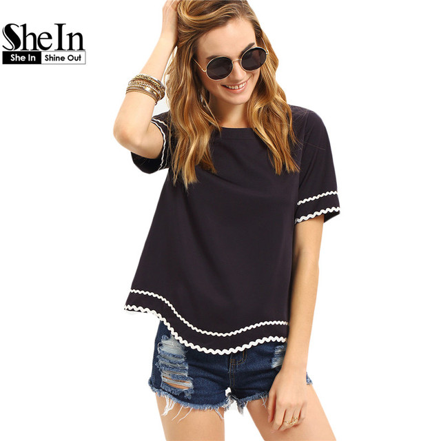 SheIn Women 2016 New Arrival Fashion Tops Ladies Tee Shirts Crew Neck Navy Waved Print Trim Short Sleeve T-shirt