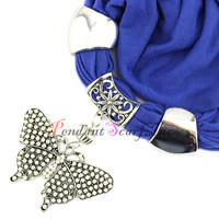 Free Shipping Solid Color Women S Fashion Butterfly Pendant Scarf Neclace Jewellery Shawl SC0042