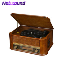 HiFi Record Player Retro LP Vinyl Turntable Stereo System, FM Radio, CD, Cassette Tape, USB for MP3, Vinyl to MP3 Recording