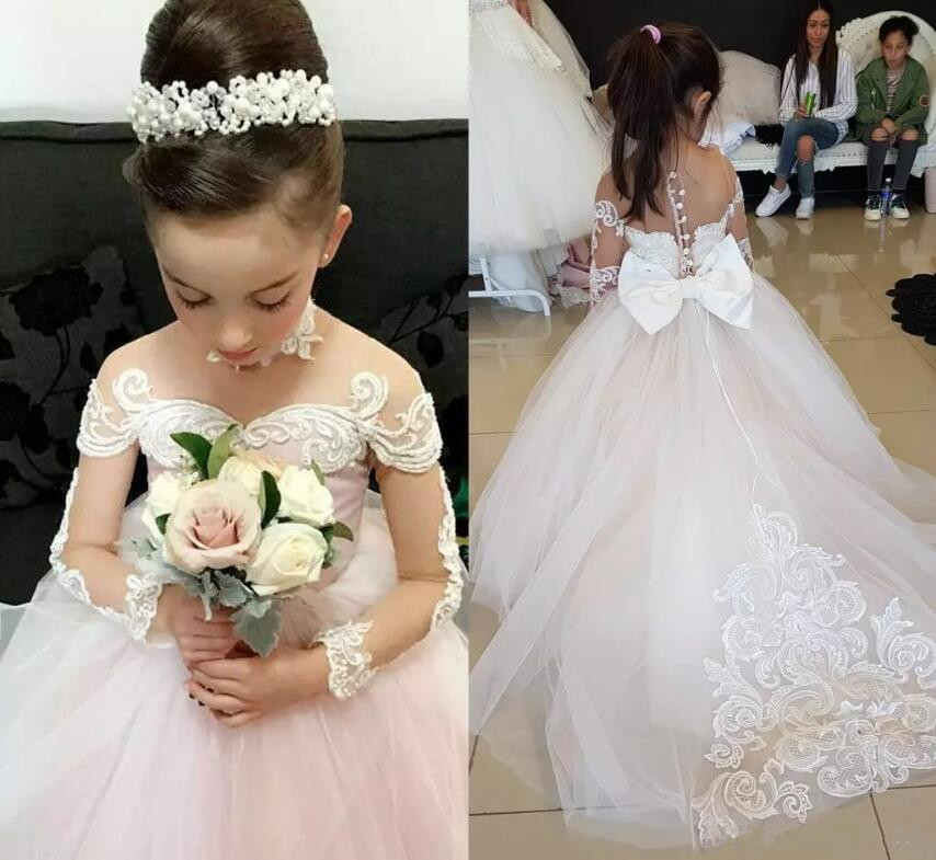 Princess Dresses White Lace Girls Off Shoulder Flower Girls Dresses for Wedding Beaded Lace Organza Fluffy Girls Communion Gown white lace details off shoulder self tie design blouse