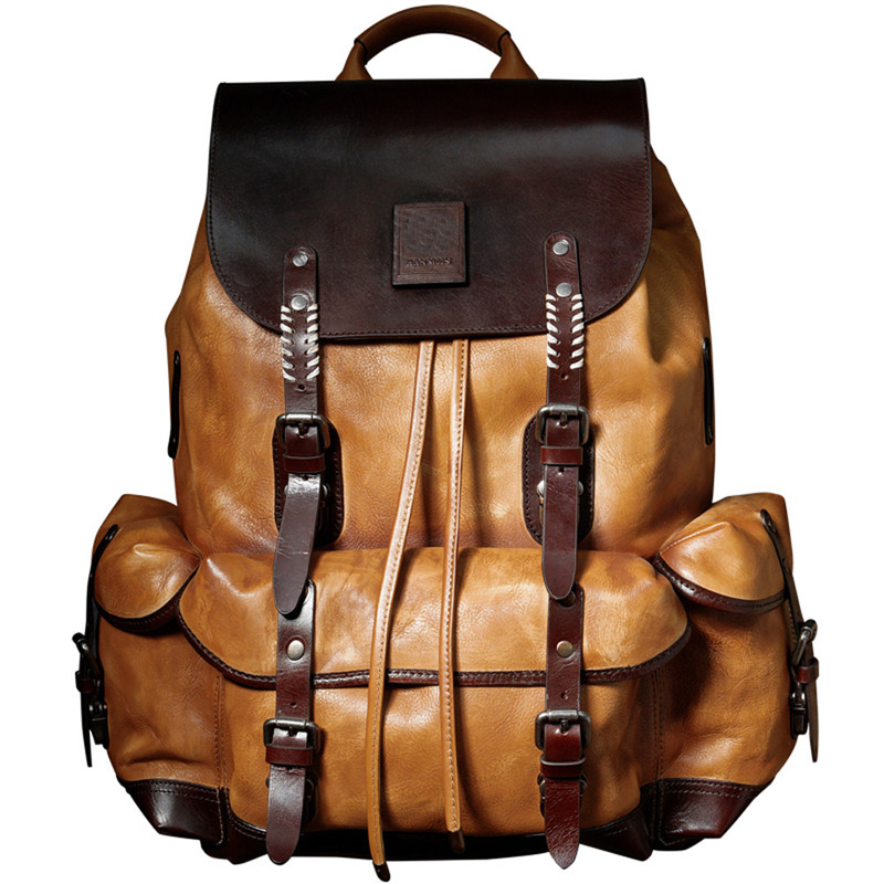Backpack Luxury Mens Cow Leather  Bag Large Capacity Retro Shoulder Bag Military Style Travel Bag Backpack Luxury Mens Cow Leather  Bag Large Capacity Retro Shoulder Bag Military Style Travel Bag