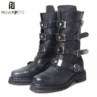 Prova Perfetto Genuine Leather Cool Punk Martin Women Boots Metal Decoration Belt Buckle Short Boots Low