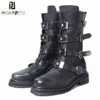 Prova Perfetto Пояса из натуральной кожи в стиле панк Мартин Для женщин Сапоги и ботинки для девочек украшения из металла пряжки ремня полусапожки