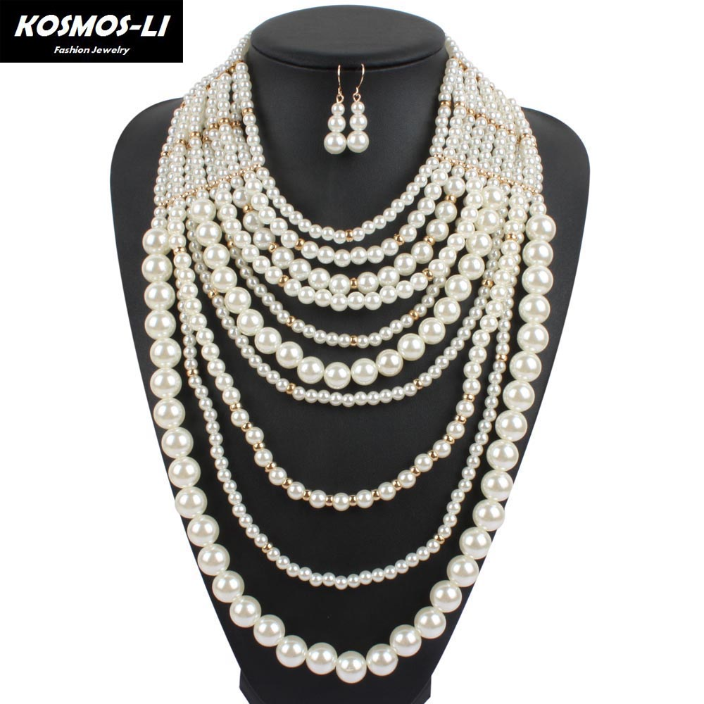 Layer Necklace New Fashion Plastic Imitate Pearl Beads Maxi Collier  Statement Strand Long Necklace For Women